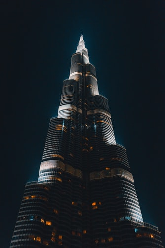 an image of the Burj Khalifa building in Dubai at night